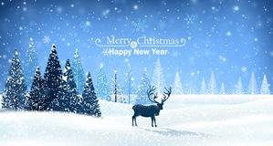 Christmas card with reindeer. Christmas card with snowy trees and reindeer Royalty Free Stock Images