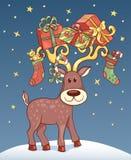 Christmas card with reindeer. Stock Photo