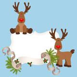 Christmas card with reindeers Stock Photo