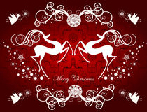 Christmas card with reindeers and snowflakes Royalty Free Stock Photo
