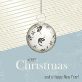 Christmas card - retro style. Retro Christmas background with xmas ball Royalty Free Stock Photo