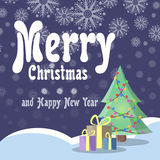 Christmas card in retro style. Christmas tree with garlands stands on snow underneath boxes with gifts on a background of the nigh Stock Images