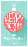 Christmas card in retro style. Flat design. Vector. Illustration Royalty Free Stock Photos