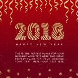 Christmas card with ribbon and sign 2018 happy new year gold style on red background for flyer. Poster, decoration, calendar, banner, invitation, web stock illustration