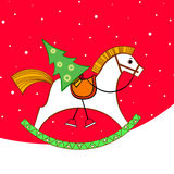 Christmas card. Rocking horse Stock Images