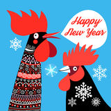 Christmas card with roosters Stock Images