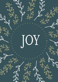 Christmas Card round design. Joy. Hand drawn vector illustration. Stock Images