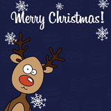 Christmas card Rudolph with snowflakes stock image