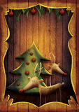 Christmas card - Rudolph with tree in wooden frame. Christmas card - Reindeer with tree in wooden frame. Cartoon childish deer with Xmas tree on wooden Stock Photos