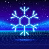 Christmas card with 80s neon snowflake Stock Photography