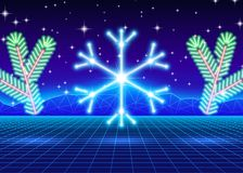 Christmas card with 80s neon snowflake Stock Photos
