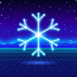 Christmas card with 80s neon snowflake Royalty Free Stock Images