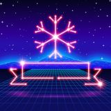 Christmas card with 80s neon snowflake and ribbon. Christmas card with neon snowflake, ribbon and 80s computer background Royalty Free Stock Images