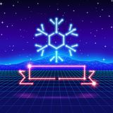 Christmas card with 80s neon snowflake and ribbon Stock Photography