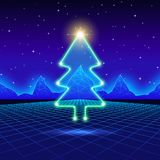 Christmas card with 80s neon tree. Christmas card with neon tree and 80s computer background Royalty Free Stock Photography