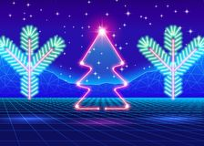 Christmas card with 80s neon tree. Christmas card with neon tree and 80s computer background Stock Image