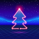 Christmas card with 80s neon tree. Christmas card with neon tree and 80s computer background Royalty Free Stock Images