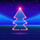 Christmas card with 80s neon tree Royalty Free Stock Photos
