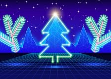 Christmas card with 80s neon tree Stock Photography