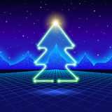 Christmas card with 80s neon tree Royalty Free Stock Images