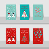 Christmas card-S1. A set of Merry Christmas small cards and Happy New Year 2016 in blue, turquoise, gray, white and red colors background vector illustration