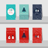 Christmas card-S2. A set of Merry Christmas small cards and Happy New Year 2016 in blue, turquoise, navy blue, white and red colors background stock illustration