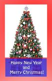 Christmas card, sample text, christmas tree, Decorated, multicolored balls, gold patchwork, royalty free stock photos