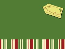 Christmas Card from Santa. Green block with Christmas Stripes - good for background or title Royalty Free Stock Image
