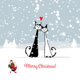 Christmas card with santa and cats couple Royalty Free Stock Images