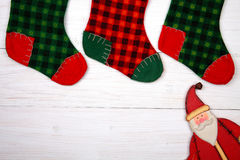 Christmas card. Santa and christmas fir tree. Stock Photo