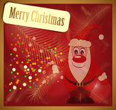 Christmas card with Santa Claus. On a red background Royalty Free Stock Photo