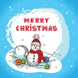Christmas card santa claus. Christmas Illustration With Snowman - New Year Postcard In Retro style With Text - Vector stock illustration