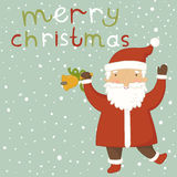Christmas card  with Santa Claus. Cartoon Santa Claus with a bell in his hand Stock Image