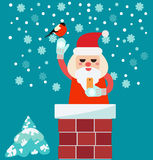 Christmas card with Santa Claus in Chimney  holding smart phone Stock Photos