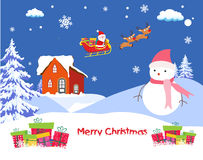 Christmas Card with Santa Claus on christmas house. Christmas Background and element for design Stock Photo