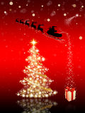 Christmas card with Santa Claus & Christmas tree Stock Photo