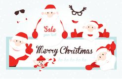 Christmas Card with Santa Claus. Collection of Christmas Santa Claus. Xmas border. Royalty Free Stock Photos