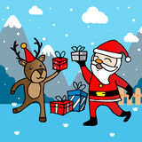 Christmas card with Santa Claus and deer. Greeting card, Christmas card with Santa Claus and deer Stock Photography