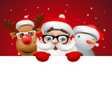 Christmas card with Santa Claus ,deer and snowman Stock Images