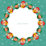 Christmas card with Santa Claus and Elf Royalty Free Stock Photography