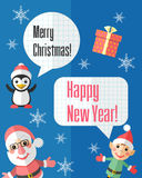 Christmas card with Santa Claus and elf and speech bubbles Royalty Free Stock Photo