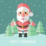 Christmas card with Santa Claus and fir trees Stock Photos