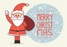 Christmas Card with Santa Claus. Flat icon  map with pin Stock Images
