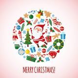 Christmas Card with Santa. Christmas Card with Santa Claus in flat style. Traditional symbols. Vector illustration stock illustration