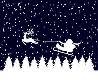 Christmas card. Santa claus is flying over snow coverd pine trees Vector Illustration