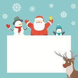 Christmas card with Santa Claus and friends. Greeting card. Vector Royalty Free Stock Photography