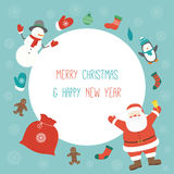 Christmas Card with Santa Claus and friends. Template with copy space. Vector Stock Photography
