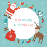 Christmas Card with Santa Claus and friends. Template with copy space. Vector Royalty Free Stock Images