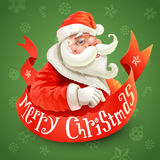 Christmas card with Santa Claus on green backgroun Stock Photography