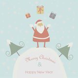 Christmas card with Santa Claus. Christmas and Happy New Year greeting card with cute Santa Claus and gifts in cartoon style royalty free illustration